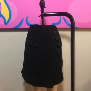 Vintage 1970s style black wrap wool skirt a-line